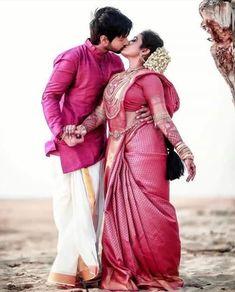 Indian Wedding Couple Photography, Wedding Couple Photos, Romantic Wedding Photos, Wedding Couples, Wedding Pics, Indian Wedding Bride, Desi Bride, South Indian Weddings, Wedding Groom