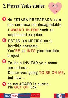 An unpleasant surprise (Phrasal verbs story) Spanish English, English Phrases, Learn English Words, English Grammar, English Language, English Articles, English Tips, English Lessons, Spanish Vocabulary