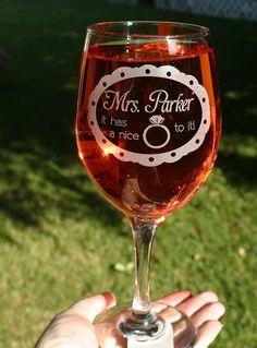 Wedding Proposal Idea Bachelorette Party Wine Glass by ScissorMill, $18.50