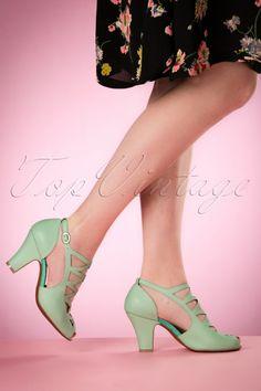 Miss L-Fire ~ 40s Sofia Lattice Sandals in Mint