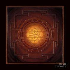 Golden Sri Yantra Mandala- archival print on photo paper Chakras, Canvas Art, Canvas Prints, Art Prints, Shri Yantra, Sacred Geometry Art, Mandala Print, Flower Mandala, Mandala Tattoo