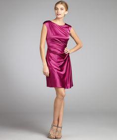 Suzi Chin cerise stretch silk and stretch jersey side pleat cocktail dress   BLUEFLY