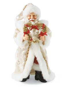Two Turtle Doves-Second in a series to the 2010 release of Partridge in a Pear Tree. This Santa is dressed in a frosty white suit gold trimmed to match the wreath holding the doves
