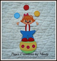 Clown girl juggling premade paper piecing for scrapbooking  page album borders
