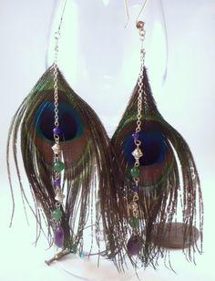 Peacock feather multi gemstone dangle by EarthMotherJewels on Etsy, $20.00