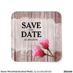 Rustic Wood Pink Rosebud Wedding Save The Date Classic Round Sticker