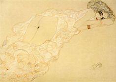 Gustav Klimt, Auf dem Bauch liegender Akt nach rechts, 1910 /Crayon, rehauts de crayons de couleur / 37 x 56 cm / Collection E.W.K., Bern