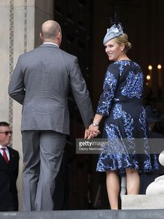 Zara Phillips Tindall and Mike Tindall  attends a National Service of Thanksgiving as part of the 90th birthday celebrations for The Queen at St Paul's Cathedral on June 10, 2016 in London, England.  (Photo by Danny Martindale/WireImage)