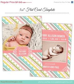 SALE Birth Announcement Template for by hazyskiesdesigns on Etsy, $4.50