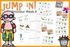 Jump In to Summer Week 4 Dinosaur Extras: ABC cards, sight word cards, word family cards, writing pages that match up with printables for the week!