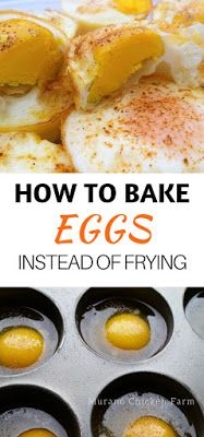 Oven baked eggs (instead of pan frying). Easy recipe for making large batches of eggs for breakfast by baking them in the oven. Egg bake recipes: fried, scrambled or poached. Super easy!