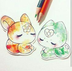 sun and earth cute animal drawings, cute drawings, kawaii Cute Animal Drawings, Kawaii Drawings, Easy Drawings, Drawings Pinterest, Anime Animals, Kawaii Art, Beautiful Drawings, Leprechaun, Doodle Art