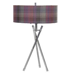 'The Harris' Crimond Heather Tartan Tripod Table Lamp with tartan lampshade and chunky chrome base.