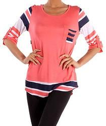 Navy and Coral 3/4 Sleeve Stripe Tee $38.99