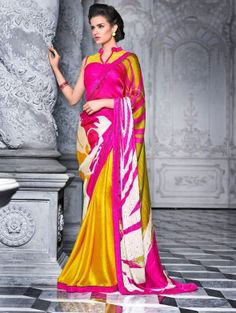 Yellow and Pink Satin Georgette Printed Saree