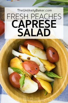 This caprese salad made with fresh peaches is a wonderful, summery twist to the traditional caprese. With summer-ripe peaches and a balsamic reduction vinaigrette, its light, bright, perfect on a summer day. #summersalad #capresesalad #freshpeach Lettuce Salad Recipes, Vegetarian Salad Recipes, Best Salad Recipes, Salad Dressing Recipes, Soup Recipes, Sweets Recipes, Easy Salads, Summer Salads, Light Soups