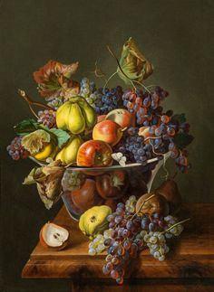 Leopold Zinnögger (Austrian, - Still life with bowl of fruit, oil on canvas, 87 x 64 cm. Fruit Painting, Oil Painting On Canvas, Caravaggio, Dutch Still Life, Still Life Fruit, Autumn Scenes, Old Paintings, Vanitas, Still Life Photography
