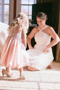 Flower girl in big girl heels | Rachel & Ben's Lace Factory Connecticut Wedding | Sweet Little Photographs