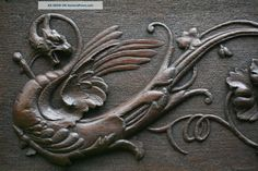 carved panel | Stunning 19th C, Gothic Oak Relief Carved Panel With Winged Gargoyle ...