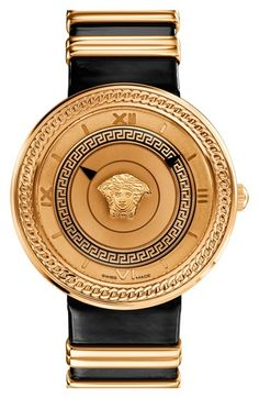 Versace+'V-Metal+Icon'+Round+Leather+Strap+Watch,+40mm+available+at+#Nordstrom