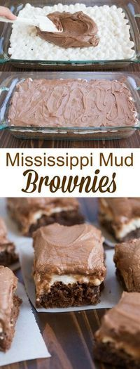 Mud Brownies My favorite one-bowl brownie recipe topped with marshmallows and chocolate frosting. Mud Brownies My favorite one-bowl brownie recipe topped with marshmallows and chocolate frosting. 13 Desserts, Delicious Desserts, Dessert Recipes, Yummy Food, Jello Recipes, Brownie Desserts, Brownie Ideas, Recipes Dinner, Brownie Icing