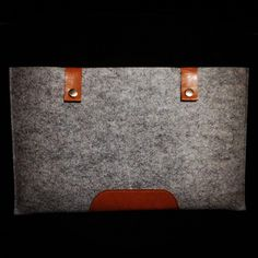 """Grey Wool Felt and Brown Leather Sleeve for Macbook Air 11"""". $24.95"""