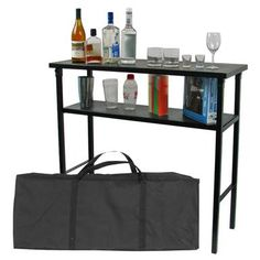 Trademark Global® Deluxe Metal Portable Bar Table with Carrying Case is the perfect accessory table for drinks and prep!