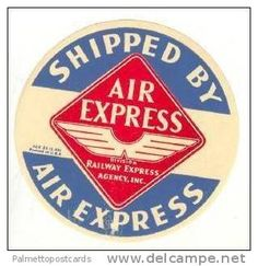 AIR EXPRESS Division Railway Express Agency, Inc (USA) 1930s Luggage Label - Aviation