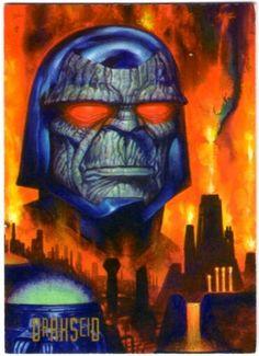 """40-Darkseid    Darkseid, mandatario del planeta Apokolips, representa el mal puro y no adulterado. Aunque usualmente actúa a través de los miembros de su guardia, Darkseid es uno de los seres más poderosos del universo. Cuando libera el """"Efecto Omega"""" de sus ojos, los rayos siguen su objetivo sin importar dónde se encuentre, y puede usar uno de sus muchos horribles efectos ¡incluyendo la desintegración instantánea!"""