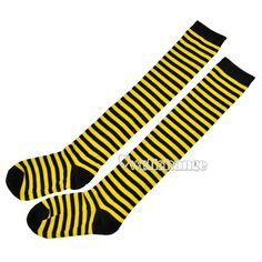 €1.88 New Fashion Thigh High Striped Socks Stockings Over Knee Girls Women (YELLOW) FREE SHIPPING!