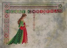 dkbaker cross stitch conversions, awesome merry Christmas celtic double lady in red and green