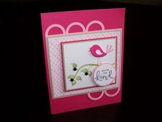 card cardmaking, bird, limb, pink