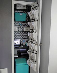 20 Small Closet Organization Ideas Even the tiniest closet can provide ample storage space for a home office. This hall closet is equipped with a desk and storage bins. The always-functional shoe holder provides pockets for everything a working girl needs Small Closet Organization, Laundry Room Storage, Closet Storage, Storage Spaces, Locker Storage, Organization Ideas, Office Storage, Wardrobe Storage, Smart Storage