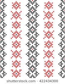 Seamless texture with red and black abstract patterns for tablecloth. Cross Stitch Borders, Cross Stitch Designs, Cross Stitch Patterns, Embroidery Fabric, Cross Stitch Embroidery, Russian Cross Stitch, Palestinian Embroidery, Seamless Textures, Black Abstract