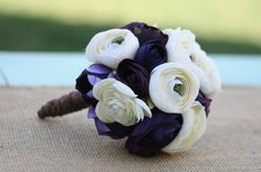 Items similar to Bride Bouquet Cream Ivory Purple Vintage Rustic Wedding (item on Etsy Ivory Wedding, Purple Wedding, Chic Wedding, Wedding Bells, Perfect Wedding, Fall Wedding, Our Wedding, Wedding Flowers, Dream Wedding