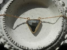 Pyrite Arrow Necklace //  Gold Rimmed Stone by ransomjewelry