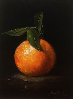 Orange with Leaves Original Oil Painting by Nina R. Aide Studio. Oil on linen 7x5 inches