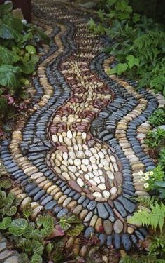Pebble mosaic garden path by andrea✖️No Pin Limits✖️More Pins Like This One At FOSTERGINGER @ Pinterest✖️‬