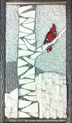 PERCH ON A BIRCH mosaic picture (by Studio Fresca)