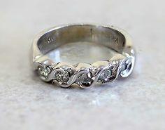 14k White Gold  Five Stone Diamond Ring 0.38ct