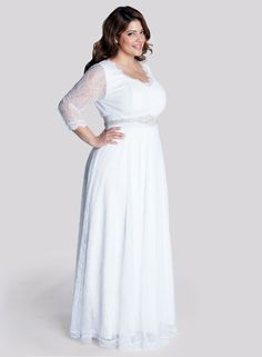 2015 Fall Long Sleeves Empire Plus Size Wedding Dress with Beading Sash