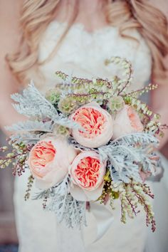 peach peony bridal bouquet // photo by Retrospect Images // flowers by Chestnut and Vine