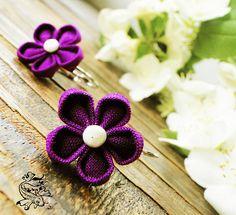 Kanzashi Earrings MURASAKI by Shoya, Fler