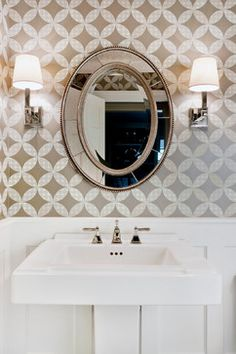 Wainscoting Powder Room Design Ideas, Pictures, Remodel and Decor Bad Inspiration, Decoration Inspiration, Bathroom Inspiration, Creative Inspiration, Bathroom Renos, Small Bathroom, Bathroom Ideas, Mirror Bathroom, Mirror Mirror