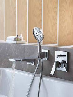 Bath tub filler with concealed bath tub faucet and hand shower. Bath Mixer, Kitchen Mixer, Freestanding Tub Filler, Bidet, Bathroom Showrooms, Bathroom Taps, Kitchen Installation, Shower Hose, Shower Panels