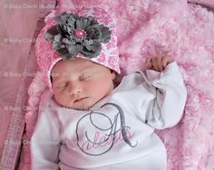 Baby Girl Gown or Onesie with Pink Damask by BabyChichiBoutique, $37.50