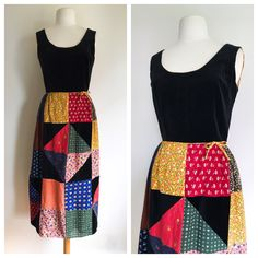 Colourful Hippie Maxi Dress / Patchwork Summer Dress / Floral 70's Boho Dress / Vintage Dresses / Retro Clothing / Small Vintage Dress by MarlaHomanCollection on Etsy