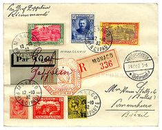 Registered airmail cover sent from Monaco to Pernambuco, Brazil, and posted October 17, 1932.