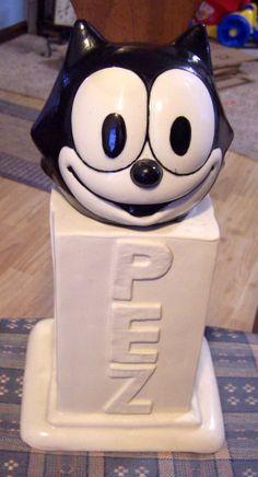 Vintage UNIQUE Felix the Cat PEZ Container COOKIE JAR! Ceramic Clay! HEAVY!