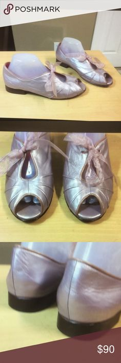 Olinda flats Lavender Paraguay design Salon sz  8 Olinda flats open toe women light lavender metallic leather. Paraguay designer salon. olinda Shoes Flats & Loafers